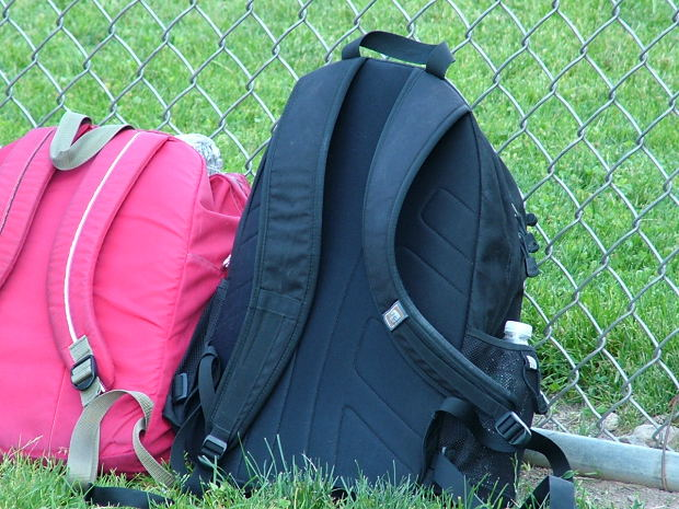 Pink girl's and blue boy's bag